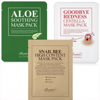 BENTON Zestaw 3 szt. Masek Goodbye Redness, Aloe Soothing, Snail Bee High Content Mask